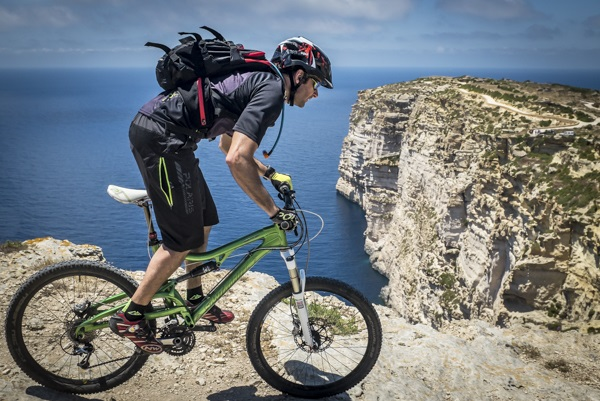 Riding the cliffs in Gozo