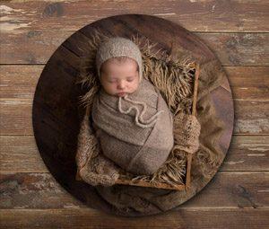 Birch Sphere with newborn image