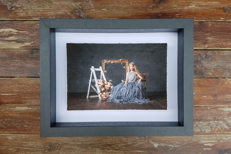 A grey fine art aperture frame