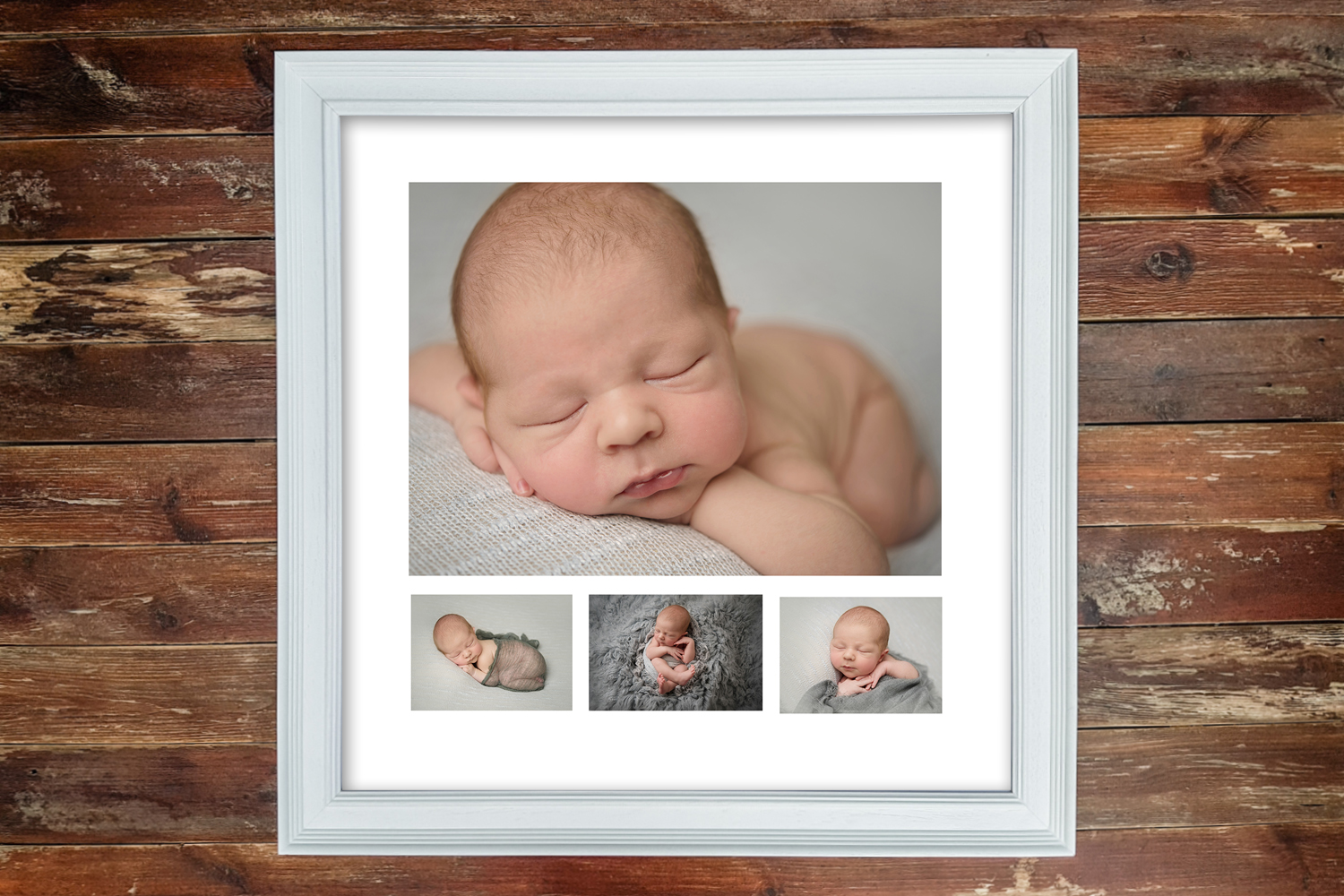 White Multi Aperture frame with Newborn Shoot
