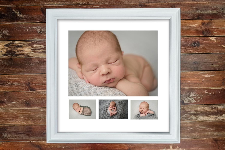 White Multi Aperture frame with Newborn Shoot
