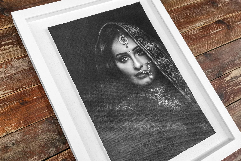 floating fine art print in white frame